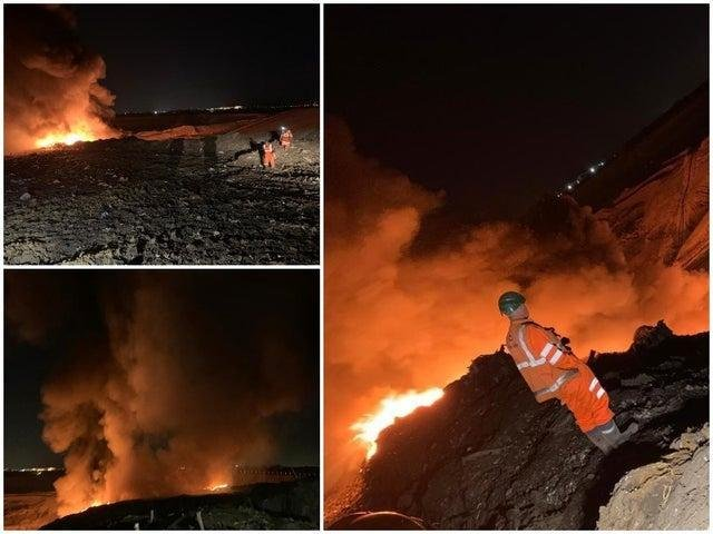 The fire service says a section of landfill about the size of a football pitch has been burning overnight in Bury and the smell of burning rubbish has been reported in South Ribble and Chorley today (Monday, April 26)