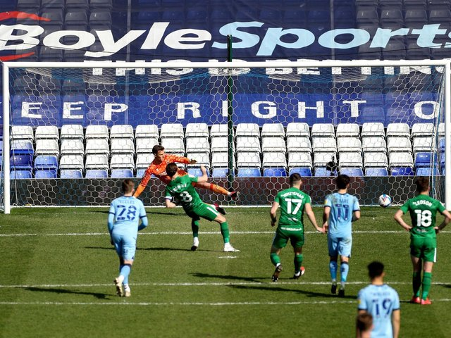 Preston North End skipper Alan Browne scores from the penalty spot against Coventry City