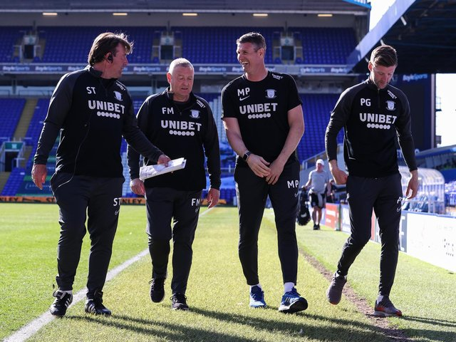 Frankie McAvoy with Steve Thompson, Mike Pollitt and Paul Gallagher after PNE's 1-0 win over Coventry City