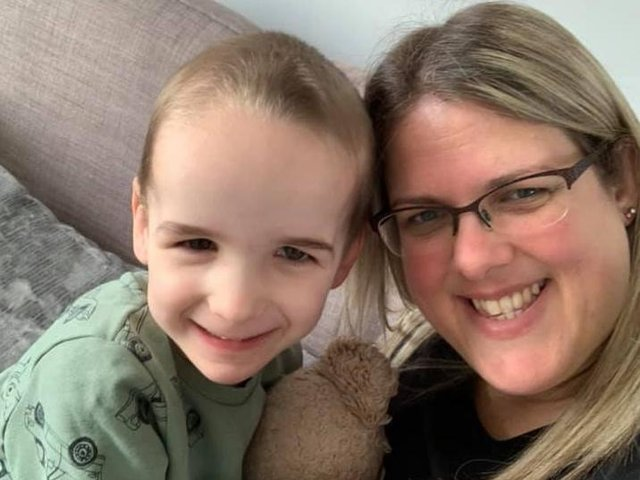 William Toole, three, with mum Lucy. William was born with a rare genetic condition called Sotos Syndrome, and Lucy hopes to build him a safe space to play in their home. Photo: Lucy Toole