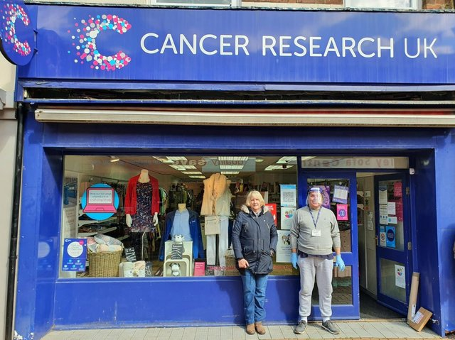Pam Hough and Gordon Fisher, volunteers at Chorley's Cancer Research UK shops
