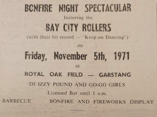 Poster from the night Bay City Rollers played in Garstang on November 5, 1971