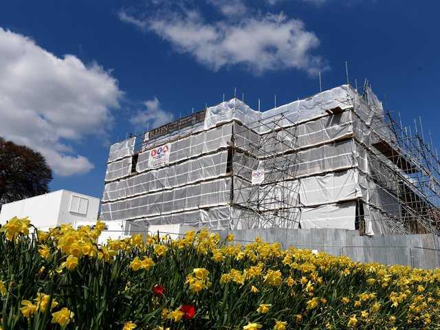 Under wraps - Astley Hall undergoing the restoration. Picture by Neil Cross