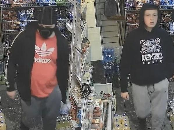 The CCTV images show two young men in a convenience shop who police believe might be linked to an armed robbery in Hawkhurst Road, Penwortham on November 28, 2020. Pic: Lancashire Police
