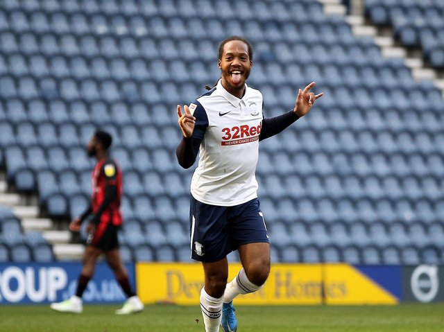 Preston North End midfielder Daniel Johnson celebrates scoring against AFC Bournemouth at Deepdale