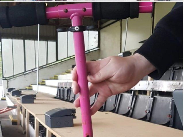 The pink metal handlebars were lobbed onto the pitch at Victory Park shortly after Chorley FC's under-21 side kicked off a friendly with Blackpool's Squires Gate FC at 7.30pm. Pic: Lancashire Police