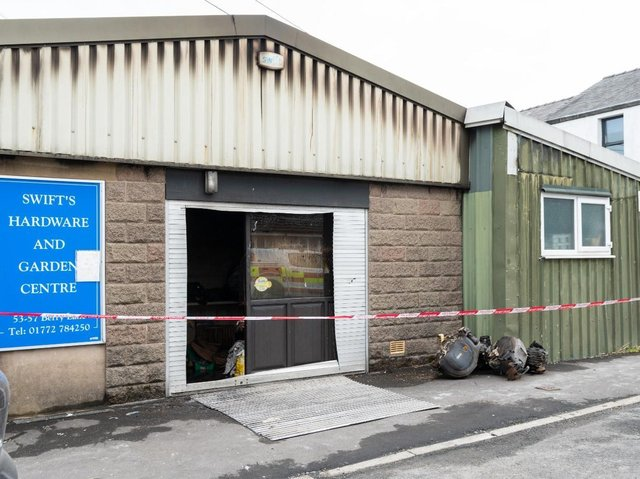 The fire broke out in the back of the shop, which remains cordoned off by fire crews this morning (April 28)