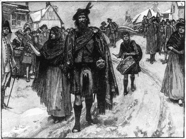 Bonnie Prince Charlie's vanguard at Manchester during the second Jacobite uprising watched by suspicious townsfolk with Sgt Dickson leading Preston Peggy to his left and the drummer boy behind
