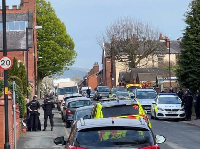 Police at the scene in Devonshire Road, Chorley yesterday (Wednesday, April 28). Pic: Rachel Waddington
