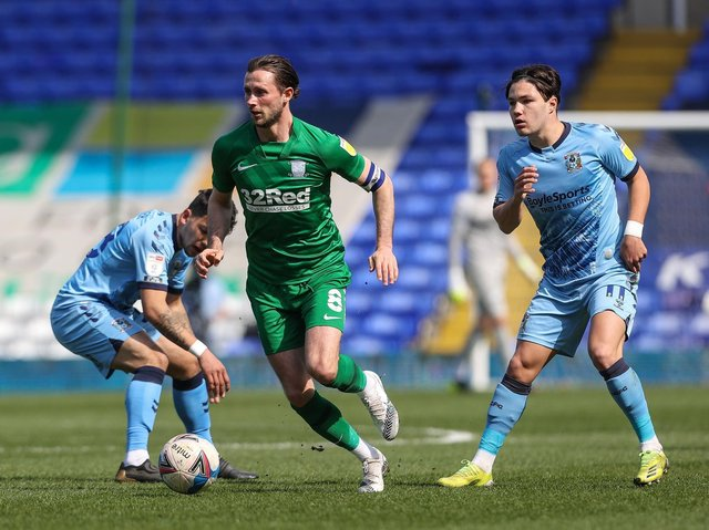 Preston North End skipper Alan Browne in action at Coventry City