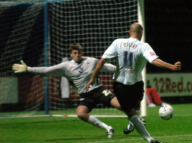 Danny Dichio fires Preston North End in front against Barnsley in the Carling Cup in August 2005