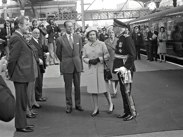 HM The Queen and HRH The Duke of Edinburgh arrive at Preston Railway Station