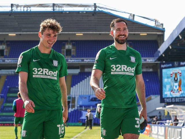 Greg Cunningham and Ryan Ledson after Preston North End's win over Coventry at St Andrew's