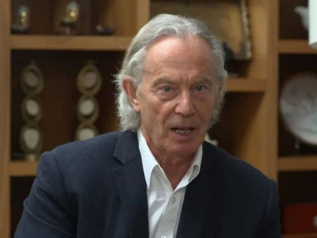 Tony Blair's long hair surprised viewers during an interview on ITV on Tuesday (April 27). Credit: ITV
