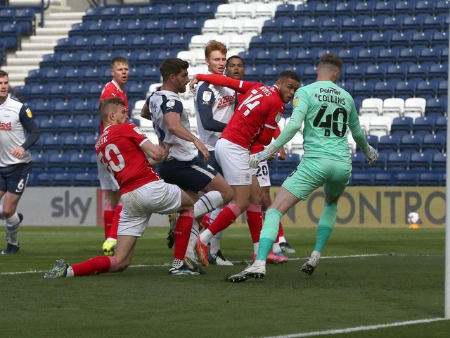 Ched Evans scores Preston's second goal against Barnsley at Deepdale