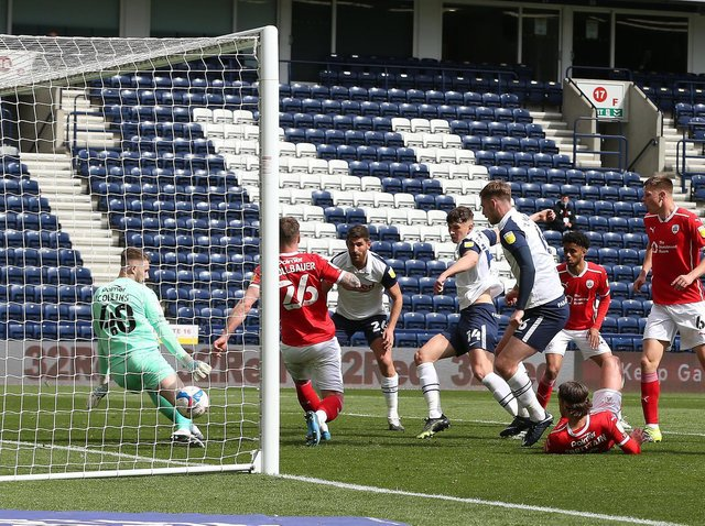 Jordan Storey gives Preston North End the lead against Barnsley at Deepdale