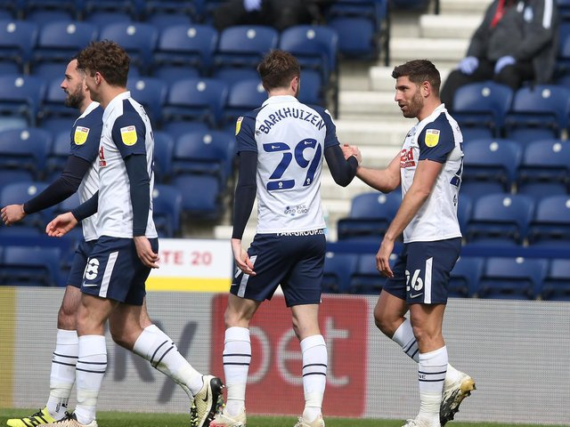 Tom Barkhuizen and Ched Evans celebrate Preston North End's second goal against Barnsley at Deepdale