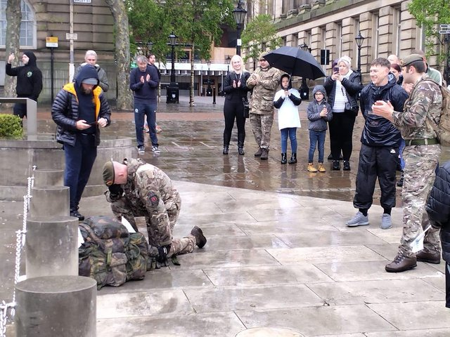 James kneeled at the memorial in the Flag Market on Sunday