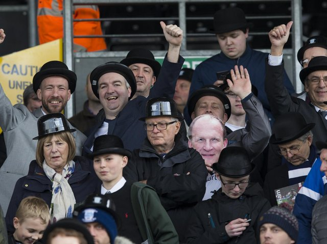 Preston North End fans on Gentry Day at Fulham's Craven Cottage in March 2017