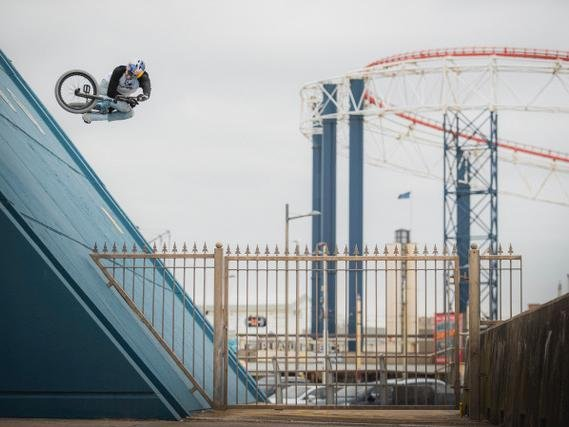 Stunt riders Danny MacAskill and Kriss Kyle show off their skills around Blackpool for their new video This and That. Pictures: Dave Mackison