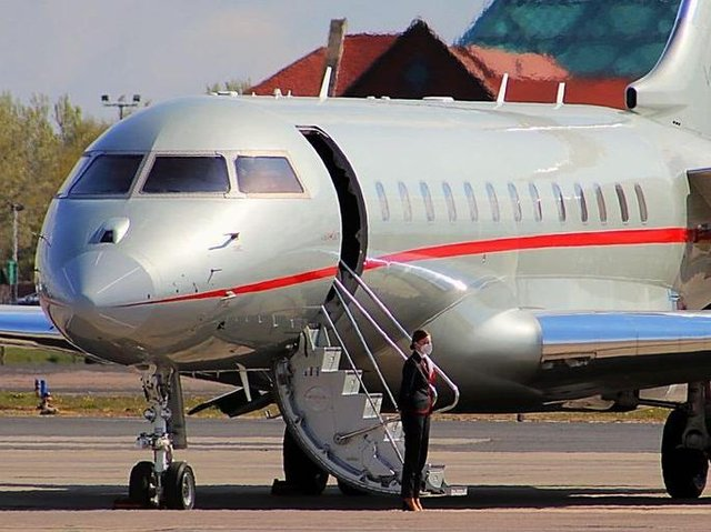 The privately chartered Challenger 850 landed in Blackpool on Sunday (May 2) after a 9 hour flight from Barbados. Pic by Paul Webster