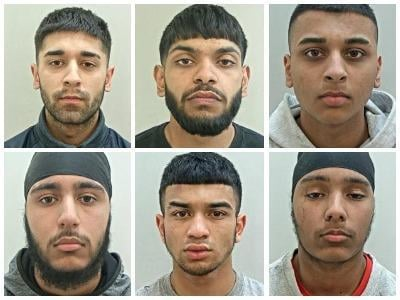 The six men jailed for an armed attack on Runshaw College. Top row, from left, Shehroz Ahmen, Murad Mohammed, and Adam Khan. Bottom row, from left, Gurmail Singh, Samadhur Rahman, and Dilbagh Singh.