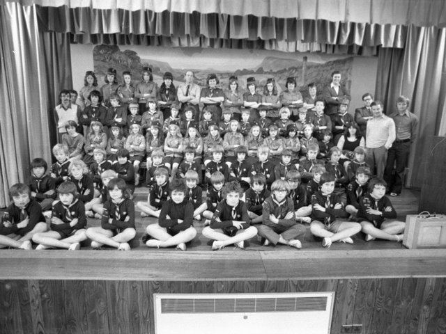 """The gang's all there at Longridge Civic Hall for the fund raising drive for local scout and guide groups. More than 80 cubs, guides and scouts will be taking part in a traditional """"Gang Show"""". Organiser Mr Gilbert Pinder, of Severn Street, Longridge, who in the past four decades has handled more than 100 similar shows, promises two-and-a-half hours of continuous, swift moving family entertainment"""