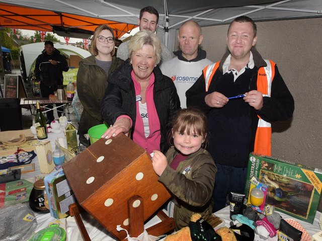 The Rosemere Tombola stand at the 2019 Ribchester May market. The charity is the chosen beneficiary for the charity collections at this year's market on May 31. Market organiser Andrew Wallin is pictured far right.