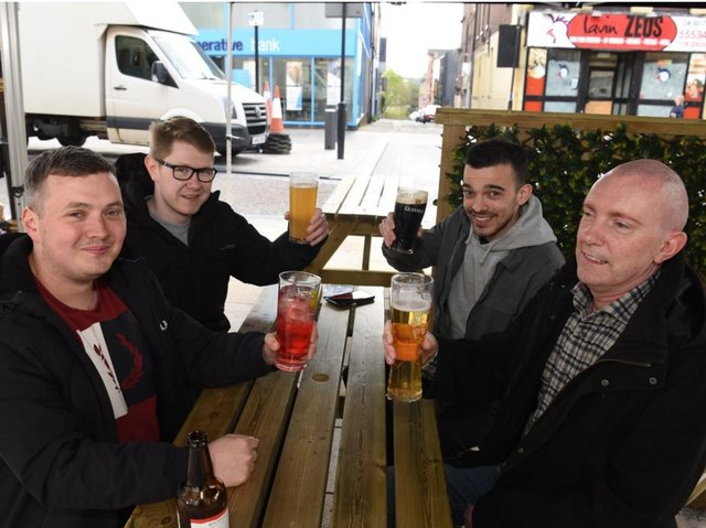 Friday afternoon revellers in Preston - Baluga. Picture by Neil Cross