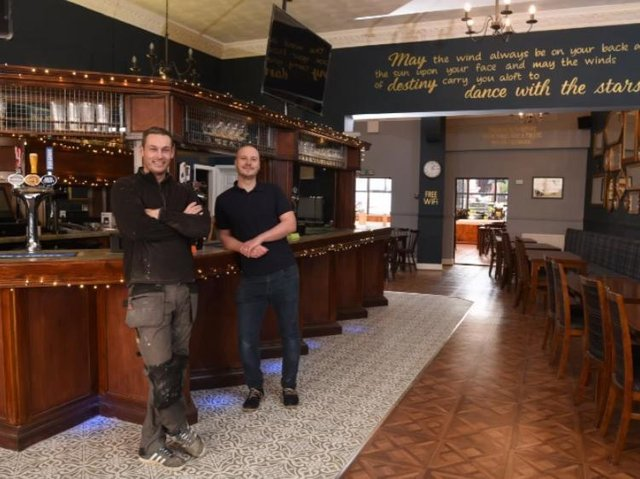 Owners Mark Skeffington and Anthony Newman in their revamped bar.