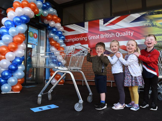 Little shoppers James, Ava, Dorothy, and Harry were invited to the new Leyland Aldi in School Lane when it opened its doors for the first time, photo by Neil Cross.