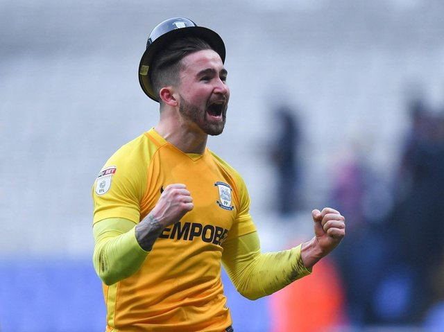Sean Maguire celebrates after netting twice on Gentry Day in 2018.
