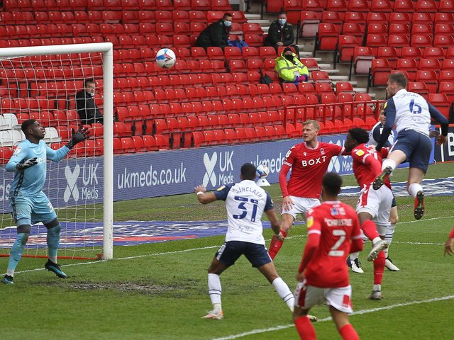 Liam Lindsay heads Preston North End's winner against Nottingham Forest at the City Ground