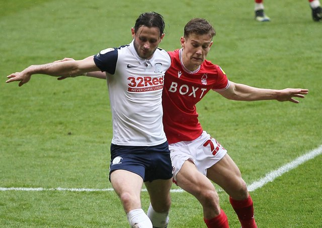 Alan Browne on the ball for PNE at Forest on Saturday