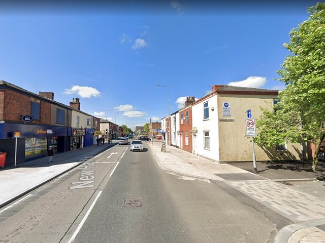 A man aged in his 40s was attacked by a group of men with weapons at around 11.15pm on Friday, May 7, between Caroline Street and New Hall Lane in Preston. Pic: Google