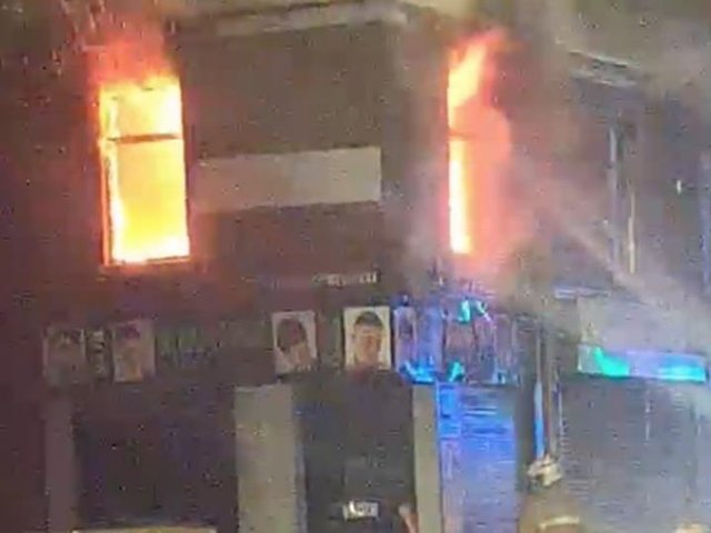 In a video shared with Lancashire Post, a ferocious blaze can be seen raging in the flat above Adams' hair salon in New Hall Lane on Saturday night (May 8)