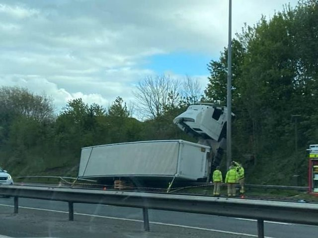 The scene of the lorry crash on the M6 in Preston yesterday evening (Monday, May 10). Picture by Mark Ware
