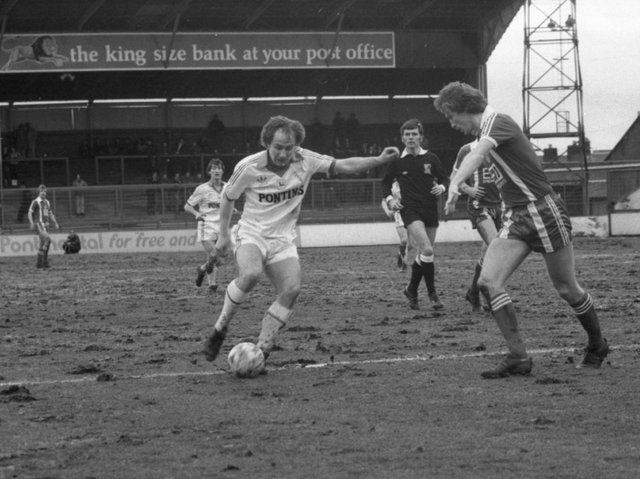 Preston North End striker Paul McGee shoots in the victory over Orient at Deepdale in March 1981