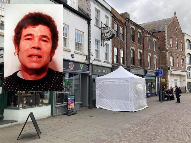 A police tent outside The Clean Plate cafe in Southgate Street, Gloucester, and inset, Fred West