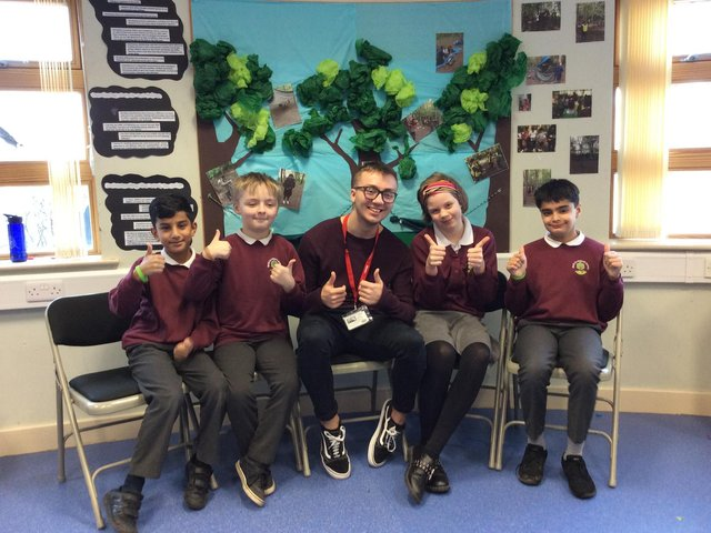 Jack Dinsley during a visit to Oak Primary School in Huddersfield prior to the pandemic