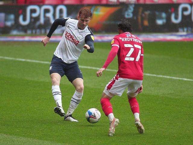 Sepp van den Berg in action for Preston North End against Nottingham Forest at the City Ground.