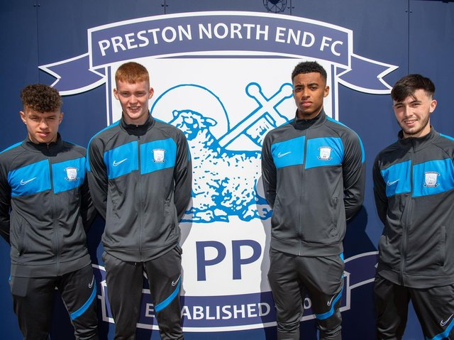 Preston North End's new professionals - Jacob Holland-Wilkinson, Oliver Lombard, Joe Rodwell-Grant and Lewis Coulton        Pic courtesy of PNE