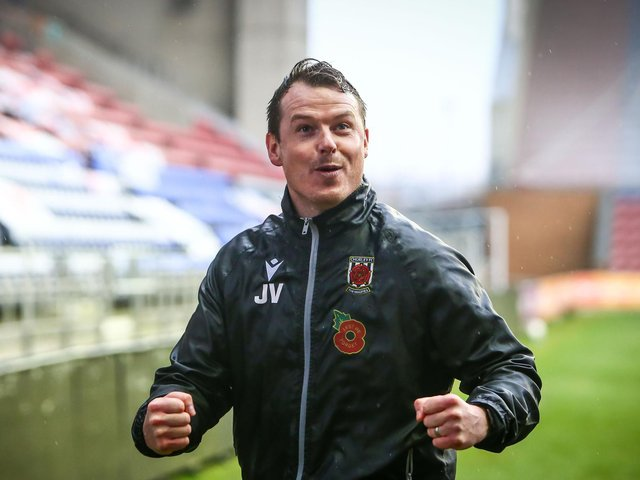 Chorley boss Jamie Vermiglio celebrates beating Wigan in the FA Cup first round. He will be a special guest at the FA Cup this weekend      (photo:Stefan Willoughby)