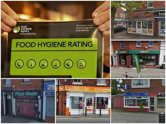Hygiene ratings for Preston, Chorley & South Ribble takeaways visited this year