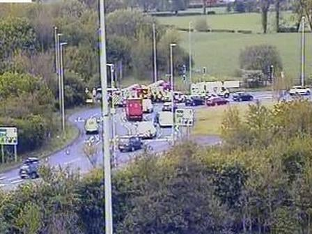 Emergency services at the scene of the crash on the M6 slip road at junction 31 near Salmesbury this morning (Thursday, May 13). Pic: Highways England
