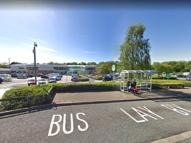 The brave shoppers intervened after they spotted a lone female officer who was trying to detain two 'aggressive' men at a bus stop outside the superstore in Clayton Green on Wednesday morning (May 12)