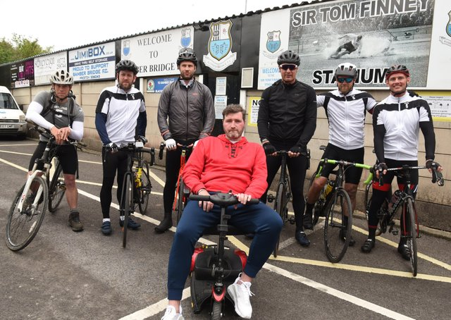 George Melling  with the riders lining up to help raise funds for his  MND charity (photo: Neil Cross)