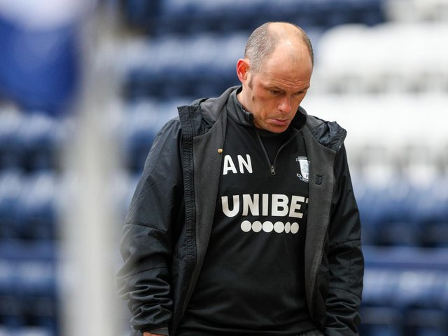 Alex Neil at the end of his final game in charge of Preston North End against Luton