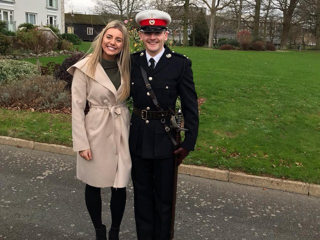 Marine Jordan Swift with sister Jessie who is also a Marine