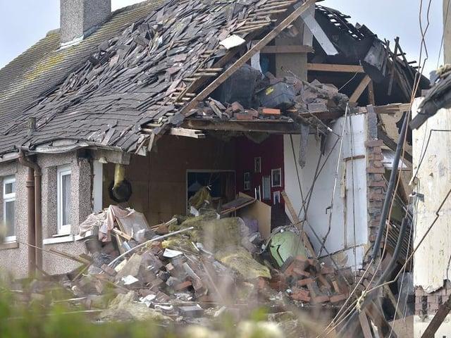 A scene of devastation in Heysham